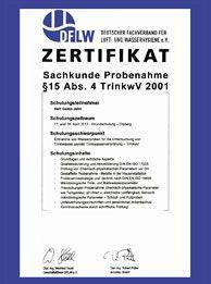 Zertifikat: DFLW - Probeentnahme