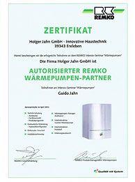 Zertifikat: REMKO - Autorisierter REMKO Wärmepumpen-Partner